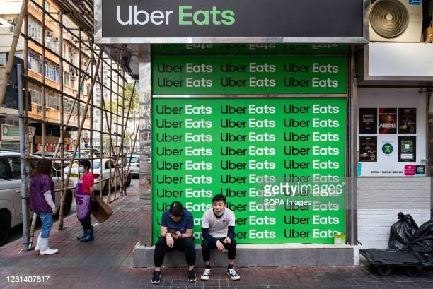 American online take out food ordering and delivery platform launched by Uber, Uber Eats sign, seen in Hong Kong.