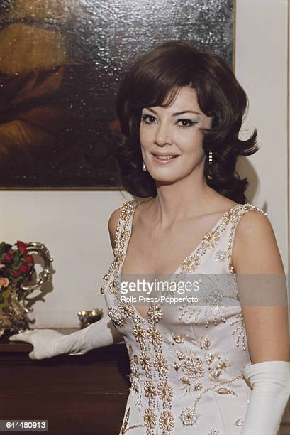 American opera singer Anna Moffo pictured wearing an evening dress with a plunging neckline at a reception at the White House in Washington DC United...