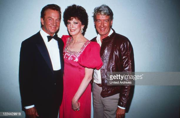 American opera singer Anna Moffo with Rudolf Schock and Rudi Carrell Germany 1985