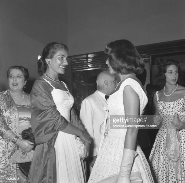 American opera singer Maria Callas during Elsa Maxwells party Venice 1957