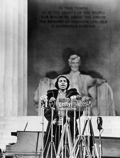 American opera singer Marian Anderson performs on the steps of the Lincoln Memorial Washington DC Easter Sunday