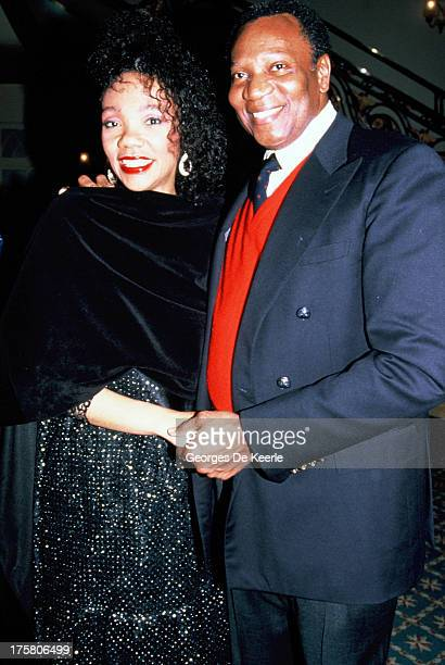 American opera singer Simon Estes and Yolanda King Martin Luther King Jr's daughter attend the premiere of musical 'King' on April 24 1990 in London...
