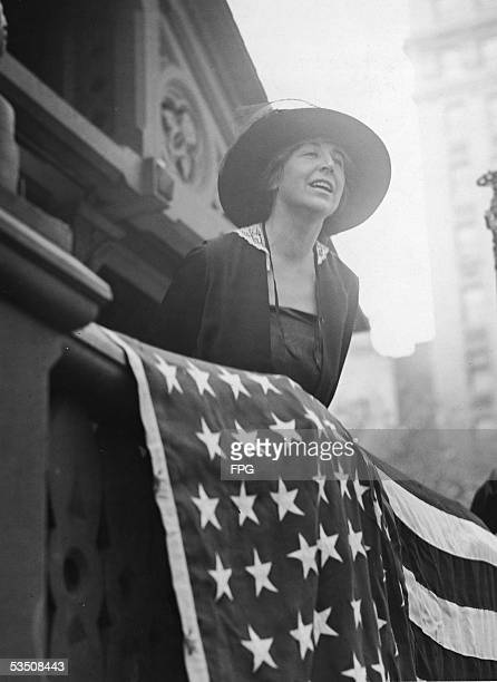 American pacifist leader and former congresswoman Jeannette Rankin addresses a rally at Union Square New York New York September 1924 Rankin became...