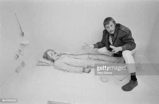 American painter and later sculptor and installation artist Paul Thek with his wax sculpture installation 'Death of a Hippy' exhibited at the...