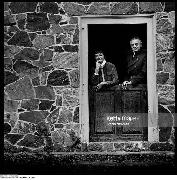 American painter Andrew Wyeth and his wife Betsy pose for portrait at their home December 2 1976 in Chadds Ford Pennsylvania