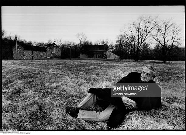 American painter Andrew Wyeth poses for portrait in his yard December 2 1976 in Chadds Ford Pennsylvania