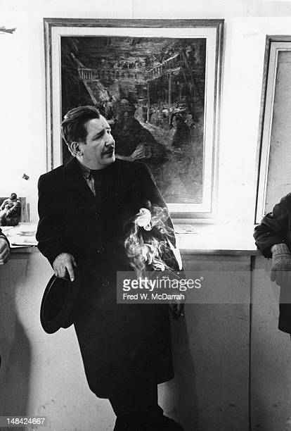 American painter Franz Kline at an exhibition of his realistic paintings at the Collector's Gallery New York New York February 11 1961 The paintings...