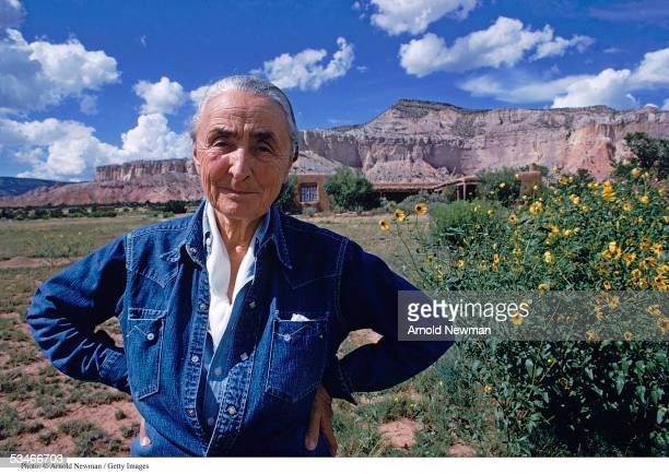 American painter Georgia O'Keeffe poses for a portrait August 2 1968 at Ghost Ranch in New Mexico