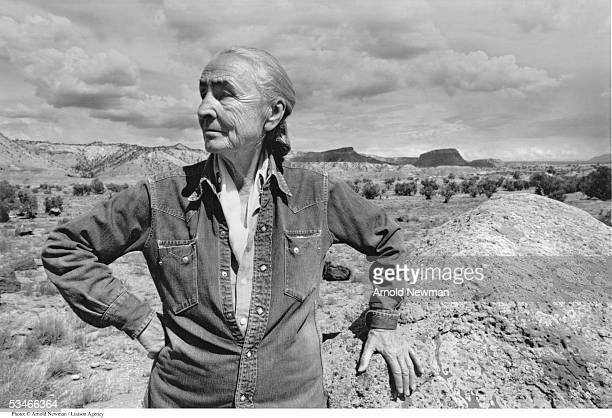 American painter Georgia O'Keeffe poses for portrait August 2 1968 at Ghost Ranch in New Mexico