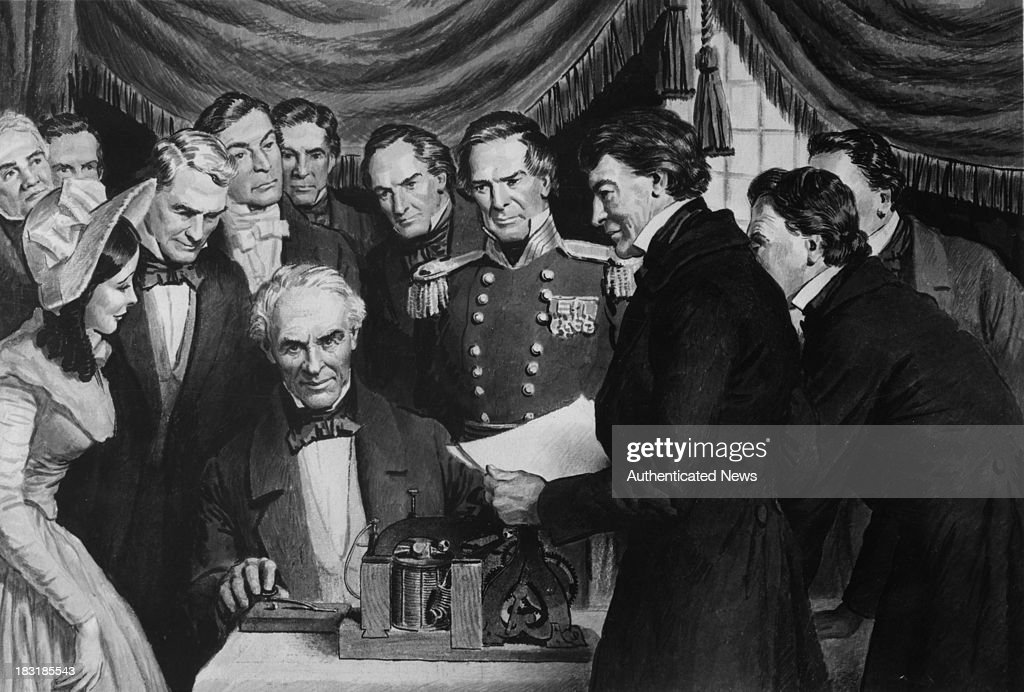 American painter-turned-inventor Samuel Morse (1791 - 1872) sends the first public telegram from the Supreme Court chamber in the Capitol, Washington, DC, to Baltimore, 24th May 1844. Morse sent the message 'What hath God Wrought?'
