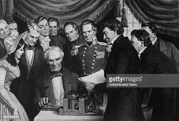 American painterturnedinventor Samuel Morse sends the first public telegram from the Supreme Court chamber in the Capitol Washington DC to Baltimore...