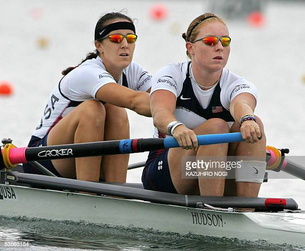 American pair Caroline Lind and Lindsay Shoop compete in a repechage session of women's pairs at the Nagaragawa International Regatta Course in Kaizu...