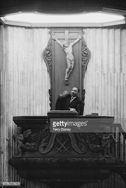 American pastor and leader in the AfricanAmerican Civil Rights Movement Martin Luther King Jr preaching from the pulpit of St Paul's Cathedral London...