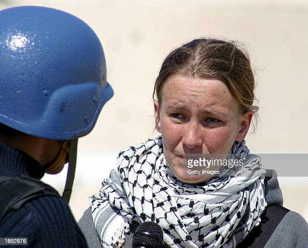American peace activist Rachel Corrie speaks during an interview with MBC Saudi Arabia television March 14 2003 in the Rafah refugee camp in the Gaza...