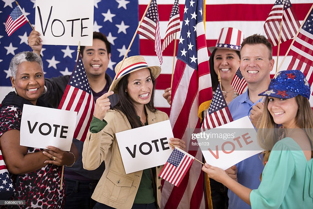 american voting usa vote rally political signs flags encourage sign istock getty gettyimages