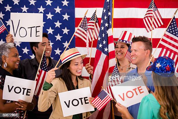 american people encourage voting. political rally. usa flags. vote signs. - democratic party usa stock pictures, royalty-free photos & images