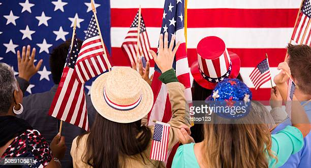 american people wave flags at political rally. usa. - democratic party usa stock pictures, royalty-free photos & images