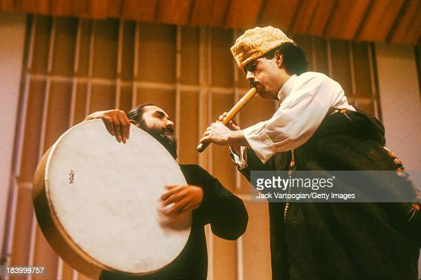 American percussionist Glen Velez on bendir performs with the leader of the Master Musicians of Jajouka Moroccan musician Bachir Attar on lira at the...