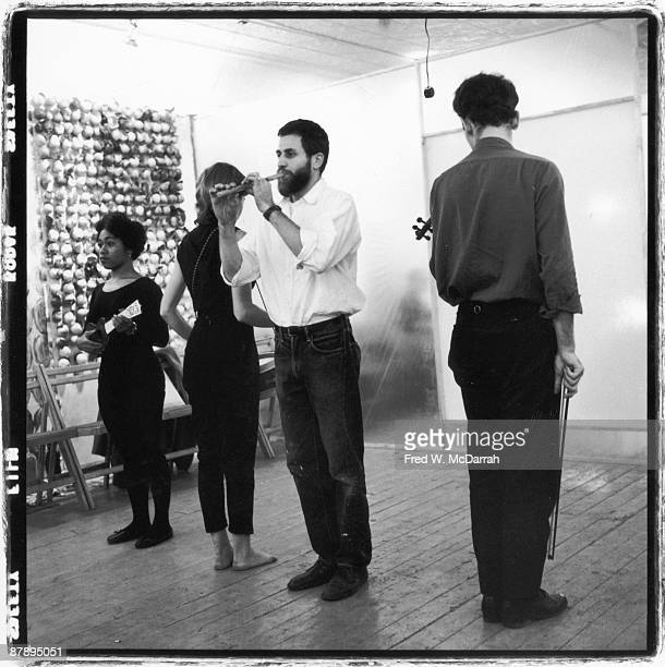 American performance artist Allan Kaprow rehearses his '18 Happenings in 6 Parts' with fellow performers Shirley Prendergast Rosalyn Montague and...
