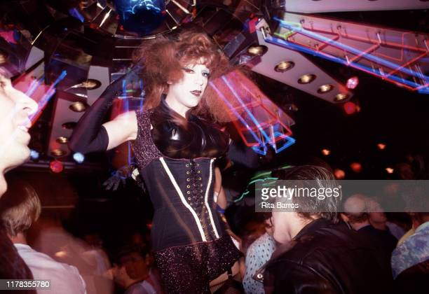 American performance artist and 'club kid' Joey Arias at the Copacabana nightclub, New York, New York, 1989.
