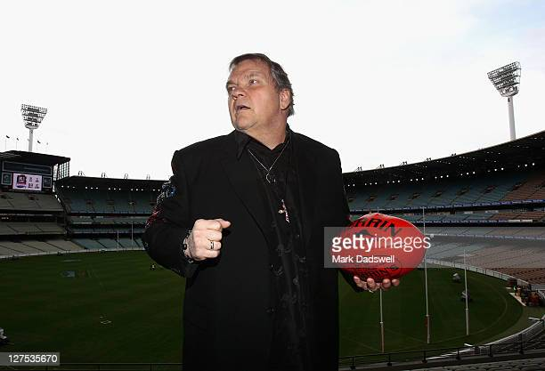American performer Meat Loaf poses during an AFL Grand Final entertainment press conference at Melbourne Cricket Ground on September 29 2011 in...