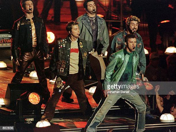 American performers *NSYNC perform during the half time show January 28, 2001 at Super Bowl XXXV between the Baltimore Ravens and the New York Giants...