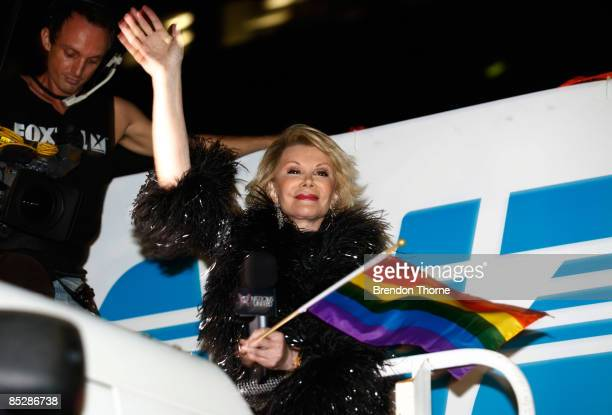 American personality Joan Rivers participates in the annual Sydney Gay and Lesbian Mardi Gras Parade on Oxford Street on March 7 2009 in Sydney...
