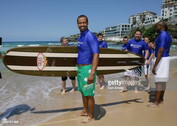 American personalityIsaiah Mustafa of Old Spice commercial fame makes his way into the water for a surfing lesson at Bondi Beach on October 20 2010...