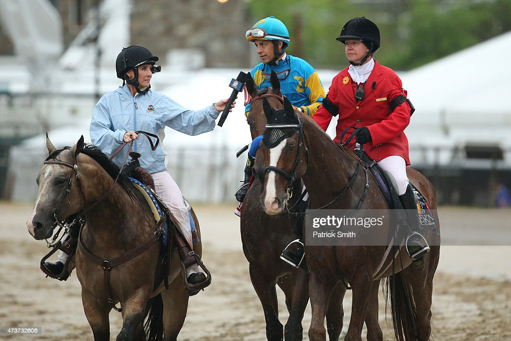 American Pharoah #1 ridden by Victor Espinoza is interviewd after winning the 140th running of the Preakness Stakes at Pimlico Race Course on May 16, 2015 in Baltimore, Maryland.