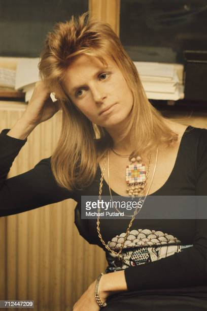 American photographer and musician with rock group Wings Linda McCartney pictured sitting in an office in London on 23rd November 1973 Photo by...