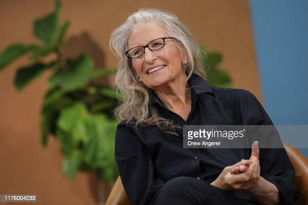 American photographer Annie Leibovitz discusses the new camera features on the new Google Pixel 4 smartphone during a Google launch event on October...