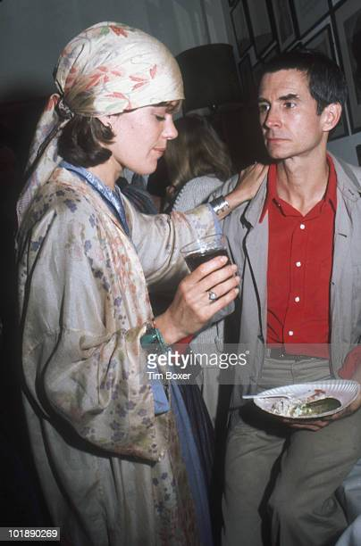 American photographer Berry Berenson and her husband, actor Anthony Perkins at a paty in honor of Perkins taking over the lead role in the production...