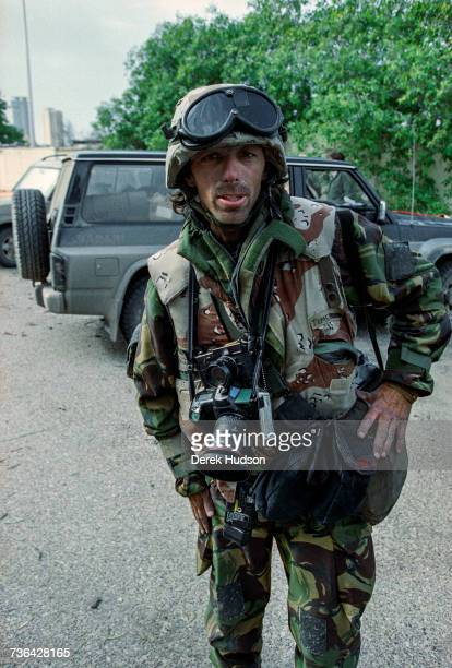 American photographer Christopher Morris photographed dressed in US military camouflage whilst covering the 1st Gulf War