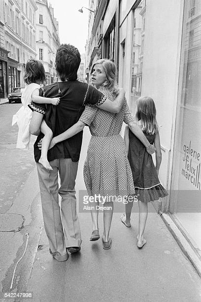 American photographer, musician and animal rights activist Linda McCartney with her husband singer and songwriter Paul McCartney, her daughter...