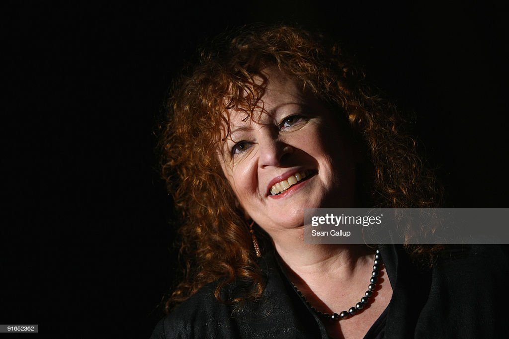 American photographer Nan Goldin speaks to journalists at the 'Poste Restante' exhibition of her work at the C/O Gallery on October 9, 2009 in Berlin, Germany. The exhibition will be open to the public from October 10 until December 6, 2009.