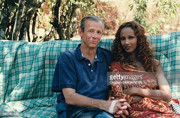 American photographer Peter Beard with Somalianborn American supermodel Iman wife of British pop star David Bowie