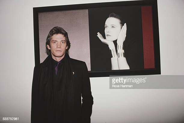 American photographer Robert Mapplethorpe at an exhibition opening at the Robert Miller Gallery New York City USA May 1987