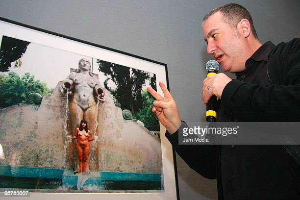 American photographer Spencer Tunick speaks about his work 'Sightseeing' during the opening of the exhibition at the Museum of Contemporary Art on...