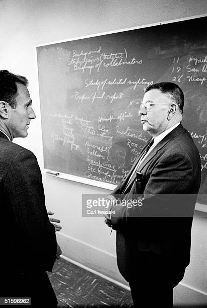 American physicist Edward U Condon and Robert Low special assistant to the vice president and dean of faculties at the University of Colorado discuss...
