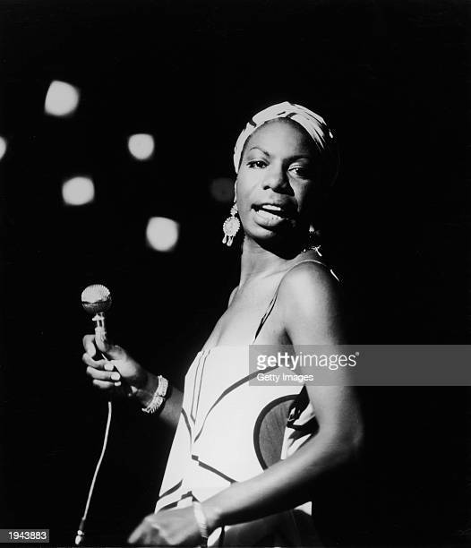 American pianist and jazz singer Nina Simone performs October 18 1964 in an unidentifed location Simone whose deep raspy voice made her a unique jazz...