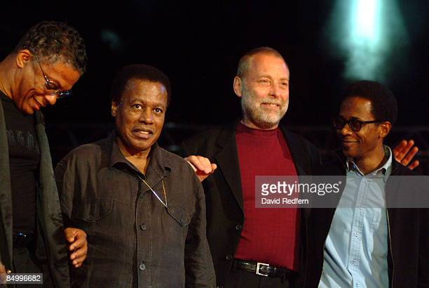 American pianist and keyboard player Herbie Hancock posed on left with saxophonist Wayne Shorter, bassist Dave Holland and drummer Brian Blade at the...