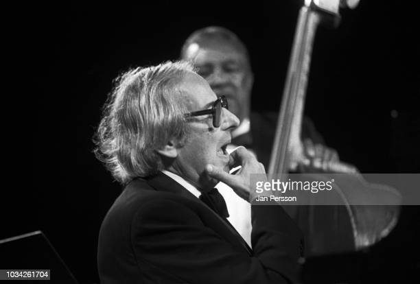 American pianist Andre Previn and Ray Brown at Tivoli Gardens Copenhagen Denmark July 1995