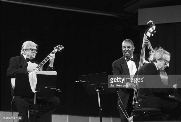 American pianist Andre Previn Trio with jazz guitarist Mundell Lowe and jazz double bassist Ray Brown at Tivoli Gardens Copenhagen Denmark July 1995
