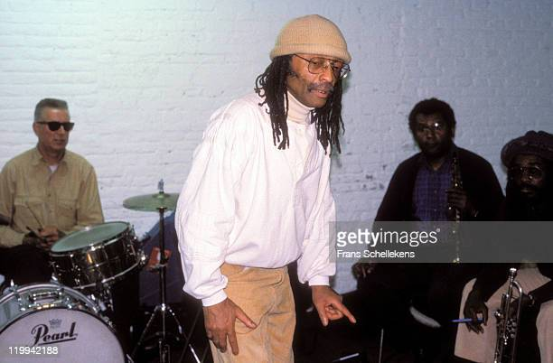 American pianist Cecil Taylor gives a jazz music tutorial at the BIMhuis in Amsterdam, Netherlands on 19th October 1987. On the left is drummer Han...