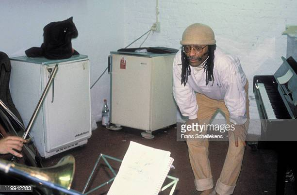 American pianist Cecil Taylor gives a jazz music tutorial at the BIMhuis in Amsterdam, Netherlands on 19th October 1987.