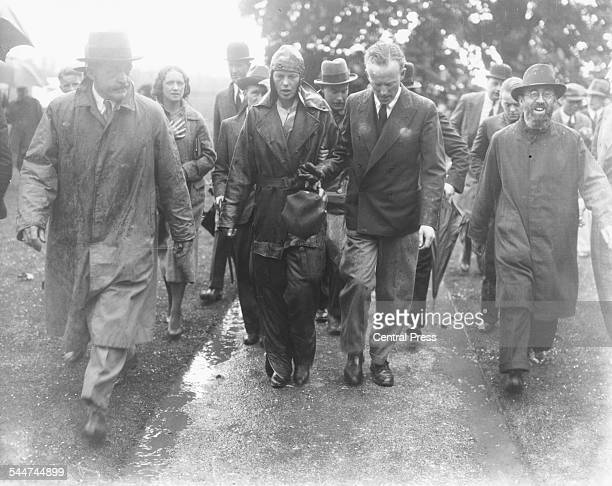 American pilot Amelia Earhart after her solo Atlantic flight from the US to Londonderry arriving at Hanworth Aerodrome England May 22nd 1932
