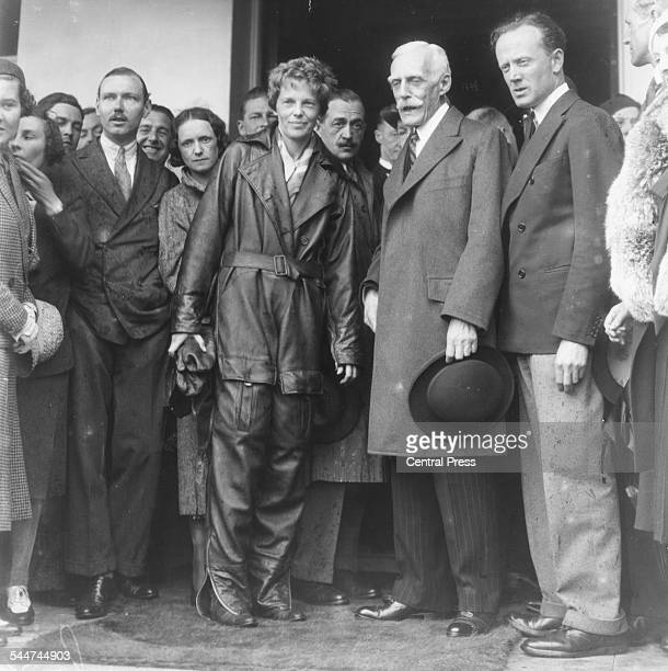 American pilot Amelia Earhart greeting the crowds after her solo Atlantic flight from the US to Londonderry Hanworth Aerodrome England May 22nd 1932
