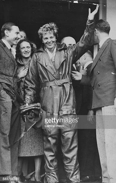 American pilot Amelia Earhart waving to the crowds after her solo Atlantic flight from the US to Londonderry Hanworth Aerodrome England May 22nd 1932