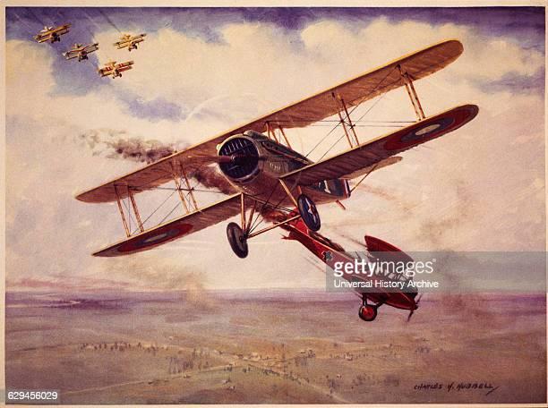 American Pilot Captain Eddie Rickenbacker in Spad 13 Plane Downs Two German LVG BiPlanes circa 1915