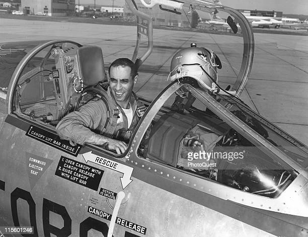 American pilot Lt Col James A Jabara sits in the cockpit of his plane on the tarmac at Westover Air Base Springfield Massachusetts 1958 Jabara was...